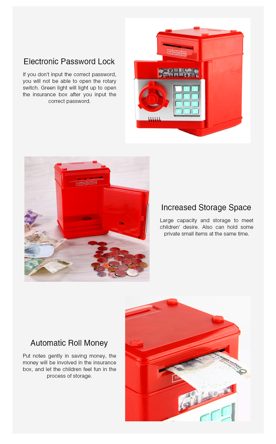 Details about Piggy Bank Cash Coin Can Password Electronic Money Bank Safe  ATM Kids Toy Black