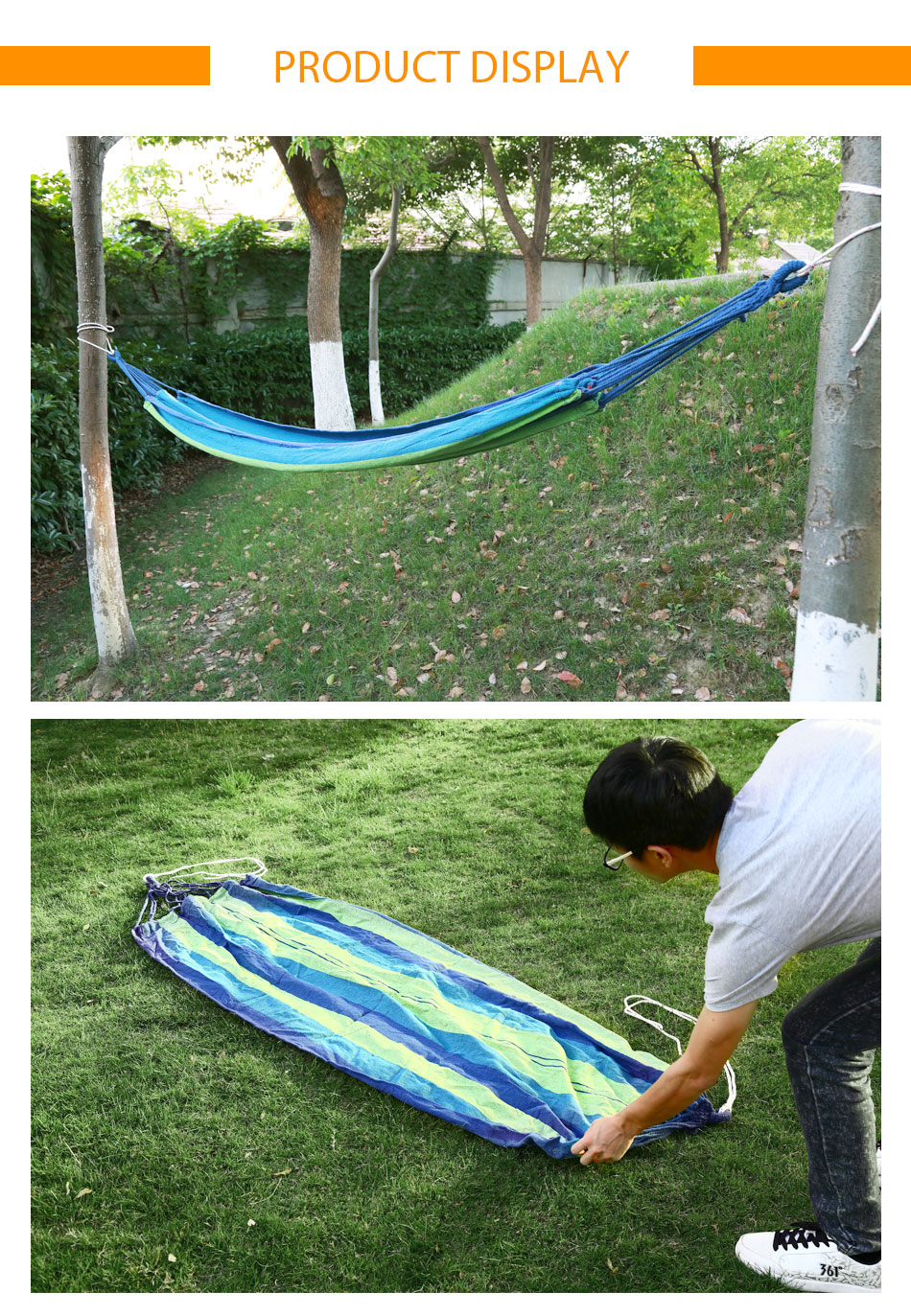 Portable cotton rope canvas hammock outdoor swing fabric for Fabric hammock chair swing